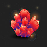 Red gemstone, cartoon crystal.  gems and mineral crystal. Vector illustration. Collection of decoration icons for games Stock Photos