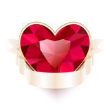 Red Gemstone Heart Shaped with Ribbon Royalty Free Stock Photos
