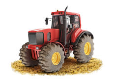 Red generic tractor. Positioned on a field with a white background Stock Images