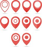 Red geo pins. Geolocation red signs set. Geolocate and navigation sign. Stock Image