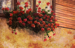 Red geranium flower in village house window, painting detail Royalty Free Stock Photo