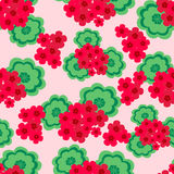 The red geranium. The flowers and leaves. Seamless pattern. Vector illustration royalty free illustration