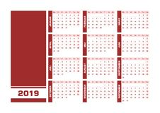Red 2019 German calendar. Vector illustration with blank space for your contents. All elements sorted and grouped in layers for easy edition. Printable royalty free illustration