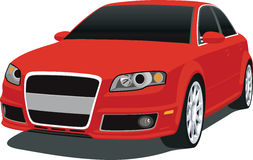 Red German Sedan 2007. A 2007 Audi RS4 Sports Sedan isolated on a White background. This a vector .eps image saved in layers for easy editing stock illustration