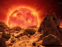 Red giant star. On the horizon of a desert planet. 3D illustration vector illustration