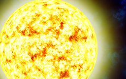 Red giant star. Sun. Solar. Isolated on a cosmic background. Image in 5K resolution for desktop wallpaper. Elements of the image are furnished by NASA Royalty Free Stock Images