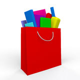Red gidt bag full of presents Stock Photo