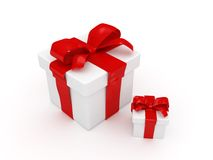 Red gift. With blank note paper-3d rendered Royalty Free Stock Photo