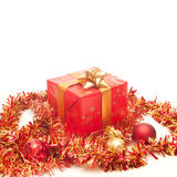 Red Gift. Red and golden gift on a white background royalty free stock photos