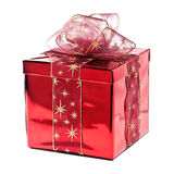 Red Gift. Box with golden stars Stock Photos