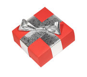Red gift. Box with silver ribbon isolated on white Stock Photography