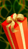 Red gift. With golden strip Stock Photos