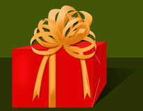 Red gift. A pretty red box all tied up with ribbon stock illustration