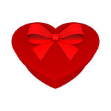 Red gift as heart. With ribbon Stock Photography