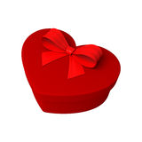 Red gift as heart. With ribbon Stock Image