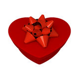 Red gift as heart. With ribbon Royalty Free Stock Photo
