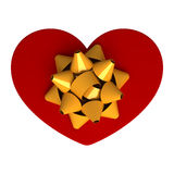 Red gift as heart. With ribbon Royalty Free Stock Image