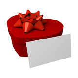 Red gift as heart. With blank card Royalty Free Stock Images