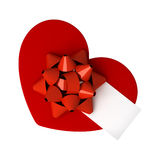 Red gift as heart. With blank card Stock Photography