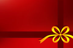 Red gift background with yellow ribbon Royalty Free Stock Photos