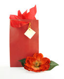 Red Gift Bag. With matching ribbon, tissue and flower Stock Photos