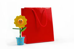 Red gift bag isolated on white. Stock Photos