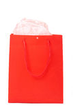 Red gift bag for Valentines. Day with rose paper isolated on white background Stock Photos