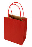 Red Gift Bag on White Stock Photo