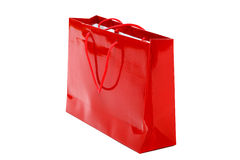 Red gift bag on a white background. royalty free stock photography