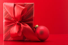 Red gift and ball Royalty Free Stock Images