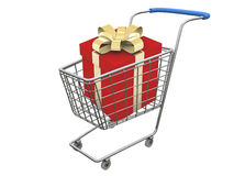 Red gift in basket. Red present in basket over white Stock Photo