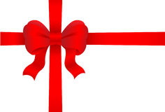 Red gift bow. On white background Royalty Free Stock Photo