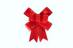 Red gift bow. On white background Royalty Free Stock Photos