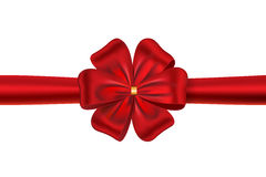 Red gift bow. Red satin ribbon with a flower bow for gift box or card. Vector illustration vector illustration