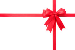 Red gift bow. Isolated over white Royalty Free Stock Photography