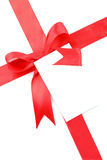 Red gift bow with blank card Stock Photography