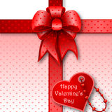 Red gift bow card note Royalty Free Stock Images