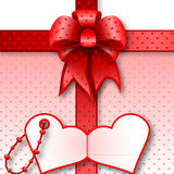 Red gift bow card note Royalty Free Stock Photo