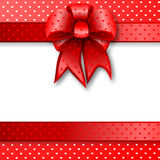 Red gift bow card note Royalty Free Stock Photos