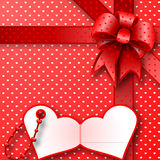 Red gift bow card note Stock Images