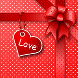 Red gift bow card note Stock Photo