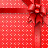 Red gift bow card note Stock Photos