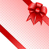 Red gift bow card note vector Royalty Free Stock Images