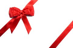 Red gift bow isolated on white background royalty free stock photo