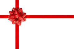 Red gift bow and ribbon Royalty Free Stock Images
