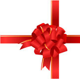 Red gift bow and ribbon.  Royalty Free Stock Photo