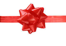 Red gift bow with ribbon Stock Photography