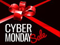 Cyber Monday Sale Sign. A red gift bow ribbon Cyber Monday Sale sign Royalty Free Stock Photos
