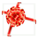Red gift bow with ribbon. Royalty Free Stock Image