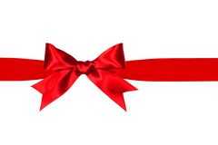 Red gift bow and ribbon isolated Royalty Free Stock Images